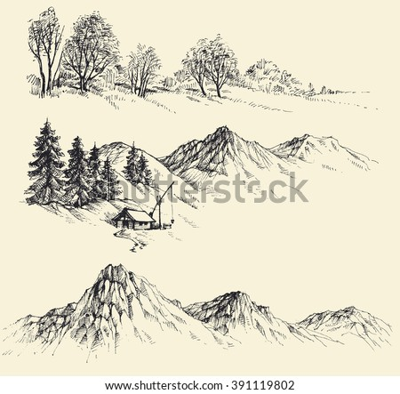 Nature elements set, mountains and forest - stock vector