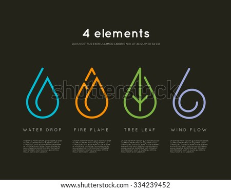 Nature elements. Water, Fire, Earth, Air. Infographic elements on dark background. Nature logo. Alternative energy sources. Fire line logo. Water line logo. Air line logo. Earth line logo. Eco logo - stock vector