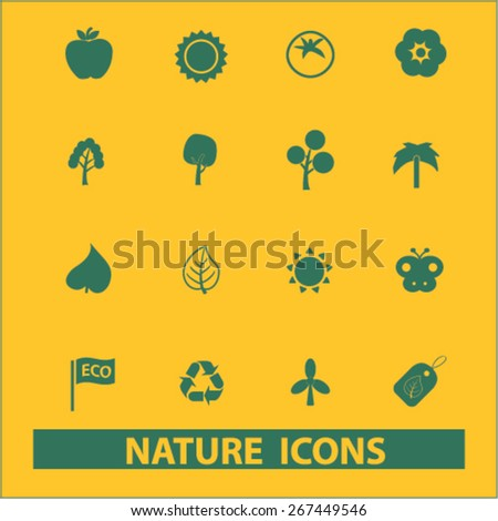 nature, environment, ecology isolated web icons, signs, illustrations concept design set, vector - stock vector