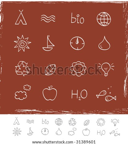 Nature & environment icons. Grunge Vector pack for magazines and webpages. See similar series in my portfolio! - stock vector