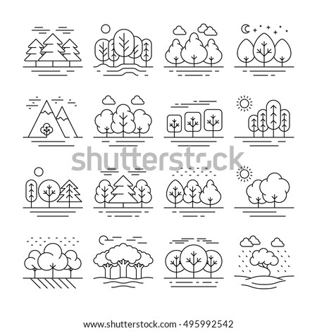 Nature forest landscape thin line icons. Tree plant and mountain, vector illustration