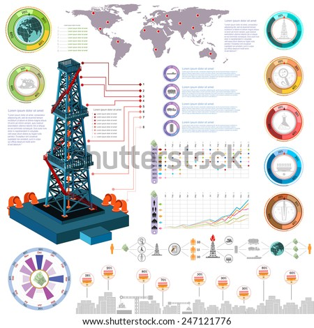 nature gas and gas rig infographics gas production delivery and gas storing and map   - stock vector