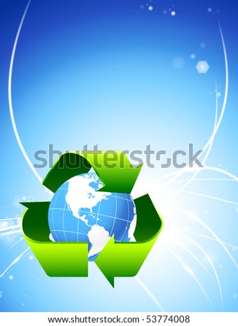 Nature Globe on Abstract Light Background Original Illustration