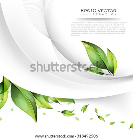 nature green leaf plant with dew drops, wave and strings elements concept design, eps10 vector illustration - stock vector