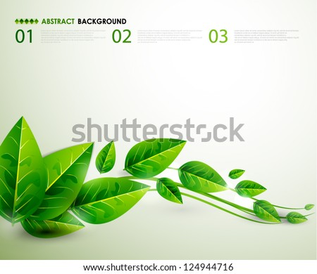 Nature green leaves | Vector flying leaves abstract background - stock vector