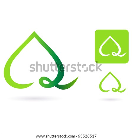 Nature heart leaf icon. Vector Illustration of heart shaped green leaf. - stock vector