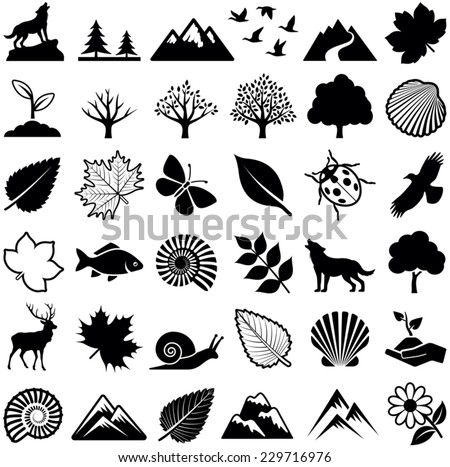 Nature icon collection - vector illustration  - stock vector