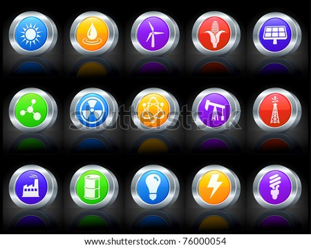 Nature Icon on Button with Metallic Rim Collection Original Illustration - stock vector