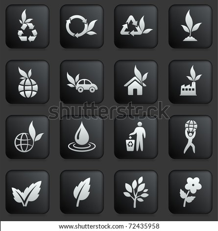 Nature Icon on Square Black and White Button Collection Original Illustration - stock vector