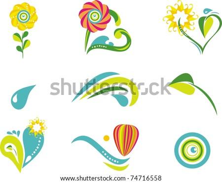 Nature icon set - stock vector