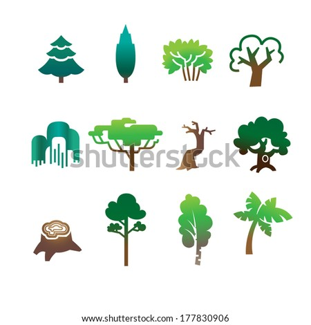 Nature Icon Set. Green Leaves, Branches, Trees,Bushes - stock vector