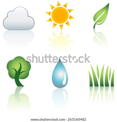 Nature Icon Set - Set of 6 nature icons.  Each element is grouped separately for easy editing.  Colors are just a few global swatches, so file can be recolored easily. - stock vector