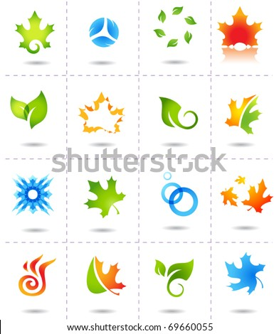 nature icons autumn spring leafs - stock vector