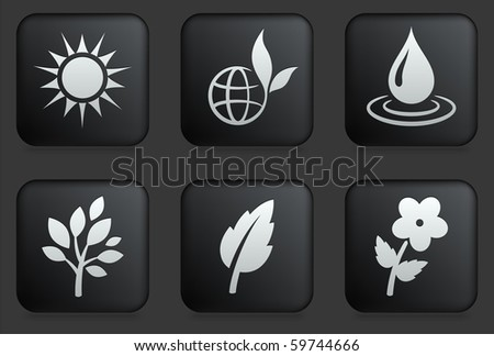 Nature Icons on Square Black Button Collection Original Illustration - stock vector
