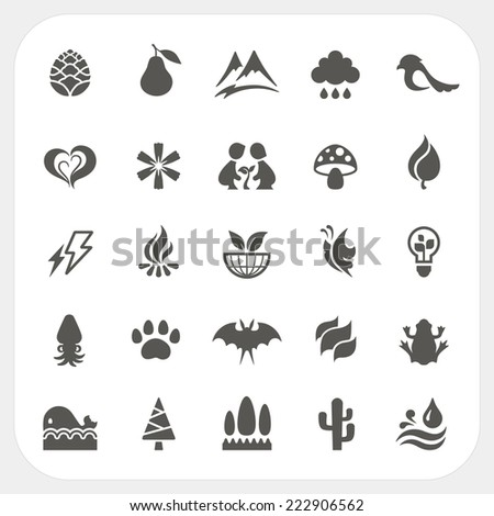Nature icons set - stock vector