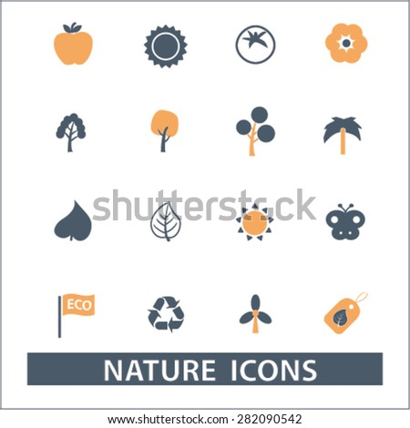 nature icons, signs, illustrations set, vector - stock vector