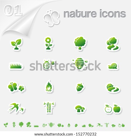 Nature icons stickers