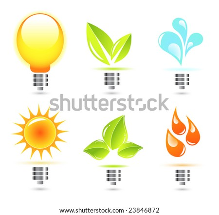Nature in electricity. Icons - stock vector