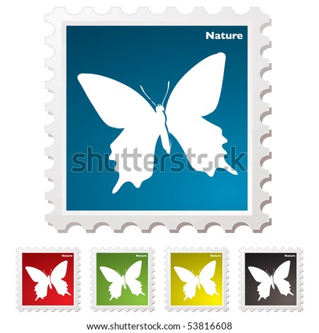 Nature inspired white butterfly postage stamp illustration - stock vector