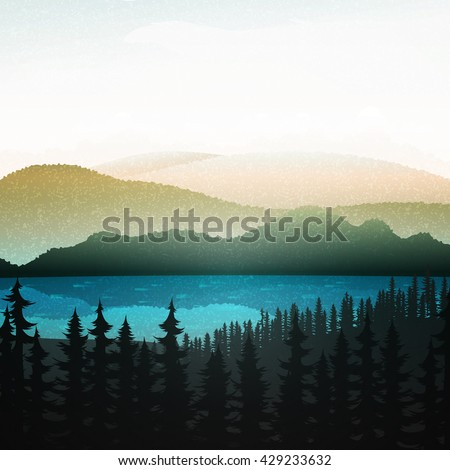 Nature landscape. Summer landscape of nature. Landscape mountain forest and lake. Nature background. Nature abstract. Natural beauty. Green nature. Green nature background - stock vector