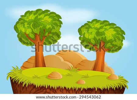 Nature landscape with trees and stones for game background - stock vector