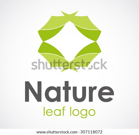 Nature leaf circle round green abstract vector logo design template ecology company icon business bio identity symbol concept