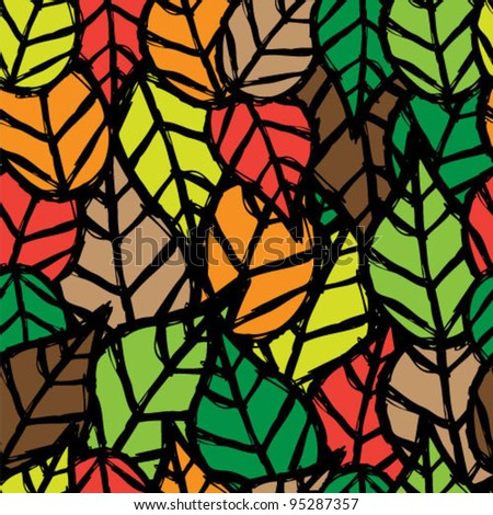 Nature leaves seamless background - stock vector