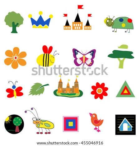 Nature Object Tree Insect and Flower - stock vector