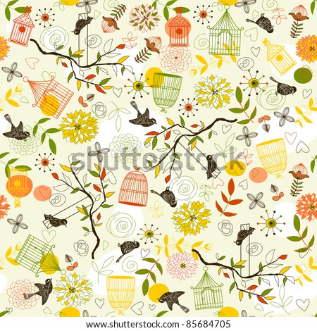 Nature Pattern with birds, birdcages, plants, flowers. Can be used for wallpaper, pattern fills, web page background, surface textures. - stock vector