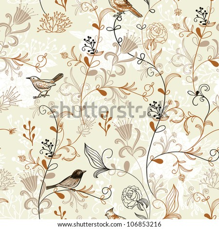 Nature Pattern with birds. Seamless pattern. - stock vector