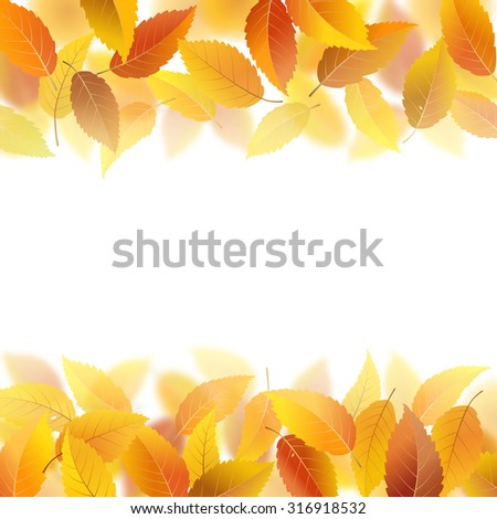 Nature pattern with fallen autumn leaves, vector illustration - stock vector
