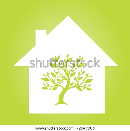 nature protection concept with abstract house and green tree - stock vector