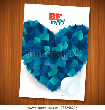 Nature rainbow leaves blue summer heart concept card.   Vector leaves abstract flyer background. Be happy flyer page template on wooden table  - stock vector