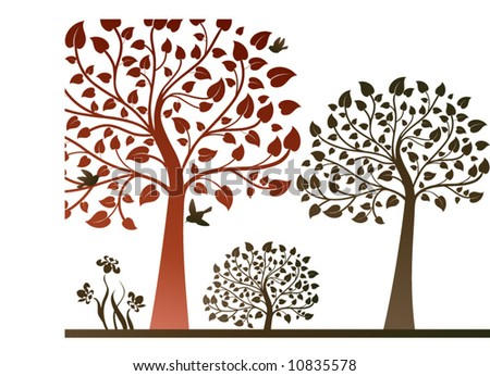nature scene with trees - stock vector