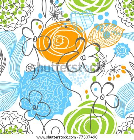 Nature seamless pattern - stock vector
