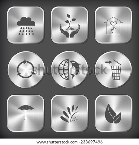 Nature set. Vector round and square steel buttons. - stock vector