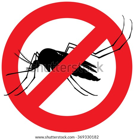 Nature, silhouette mosquitoes stilt with forbidden sign. Ideal for informational and institutional related sanitation and care - stock vector