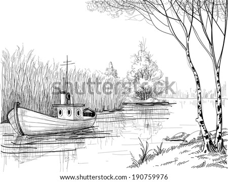 Nature sketch, boat on river or delta - stock vector