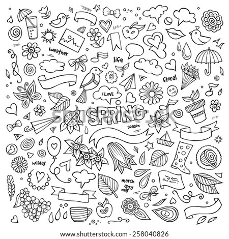Nature spring hand drawn vector symbols and objects set