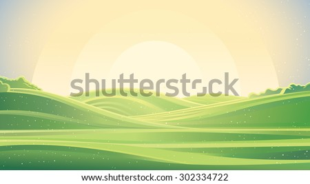 Nature sunrise background, a landscape with green hills and meadows.