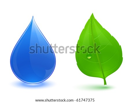 Nature symbols. Blue water drop and green leaf. - stock vector
