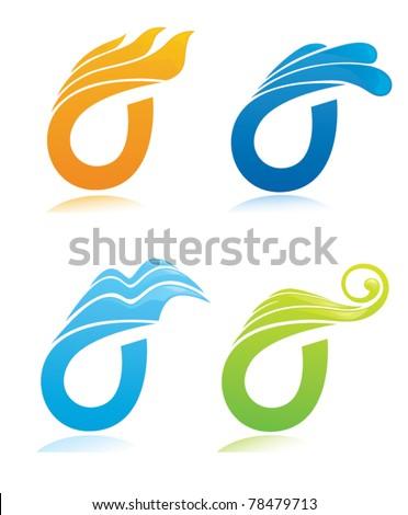 nature symbols, vector decorative elements - stock vector