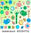 Nature textile stickers set - stock vector