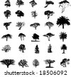 Nature tree silhouettes set - stock vector