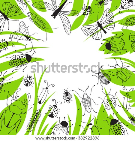 Nature vector background with bugs and butterflies. Ecology. Insects. Green. Frame. Place for text. Beetle; butterfly; background; dragonfly; bee; caterpillar; ladybug. - stock vector