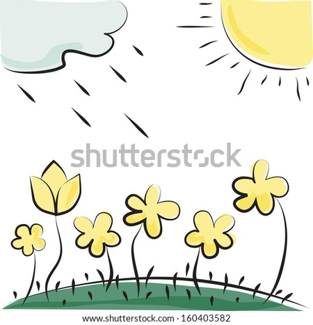 Nature. Vector flowers, sun and cloud. Imitation of children's drawings