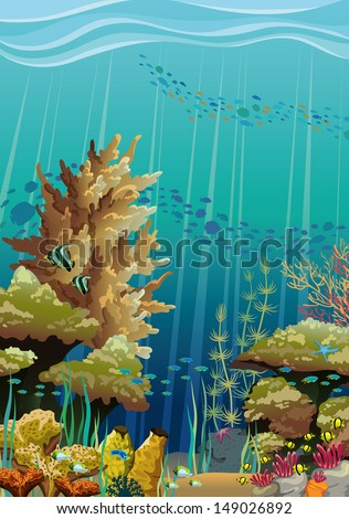 Nature vector seascape with underwater creatures and coral reef - stock vector