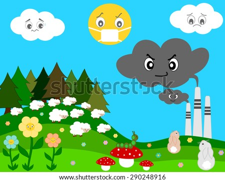 nature worried about factory pollution cartoon vector concept illustration - stock vector