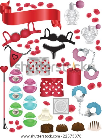Naughty Valentines Day Vector Elements Set - stock vector