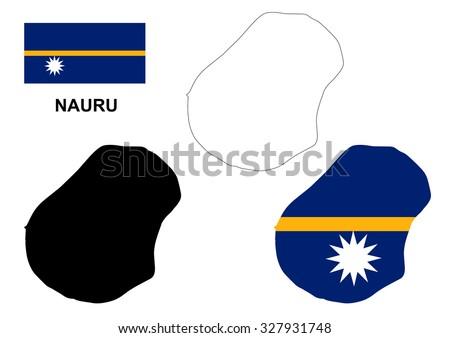 Nauru Map Vector Nauru Flag Vector Stock Vector - Nauru map vector